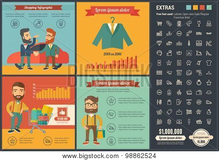 Shopping infographic template and elements. The template includes illustrations of hipster men and huge awesome set of thin line icons. Modern minimalistic flat vector design.
