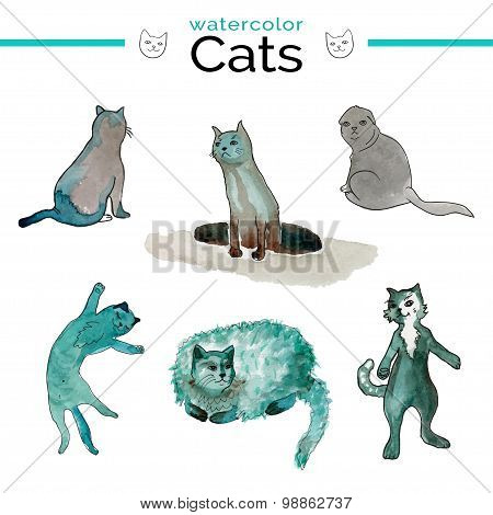 Vector illustration. Funny cats with watercolor texture.