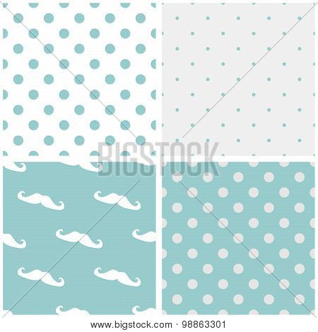 Tile blue, grey and white vector pattern set with mustache and polka dots background