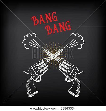 Vintage revolver sketch design. Shooting colt.