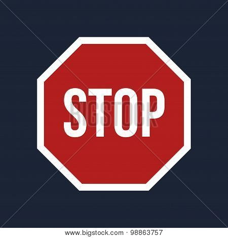 Vector Stop Sign On Black Background