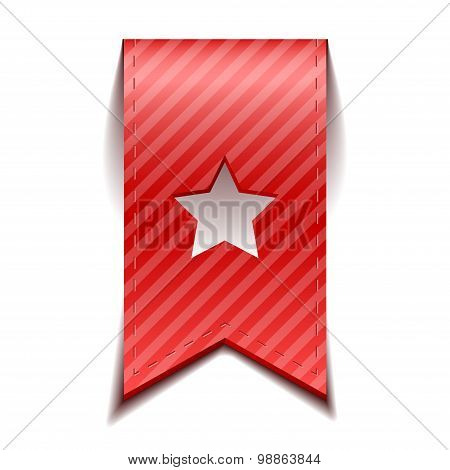 Vector red bookmarks with star, isolated