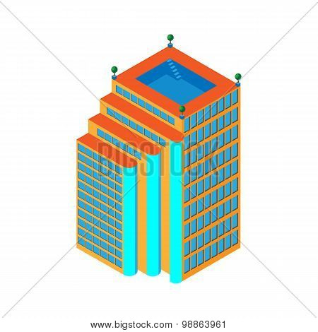flat 3d isometric skyscraper. business center with a pool on the roof and three lifts . Isolated on