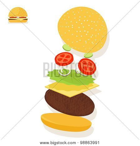 Hamburger sandwich ingredients structure setup food icon symbol vector illustration