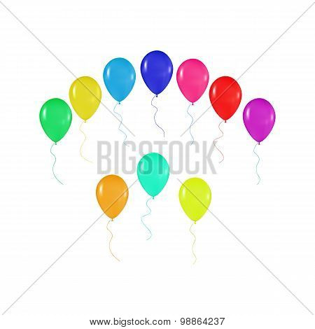 Set  Of Colorful Balloons In The Style Of Realism. To Design Cards, Birthdays, Weddings, Fiesta, Hol