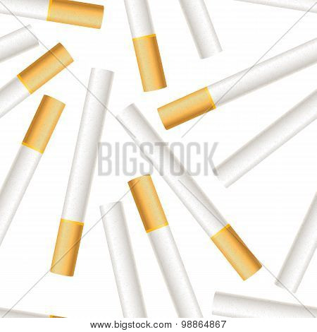Many realistic cigarettes on white background seamless pattern