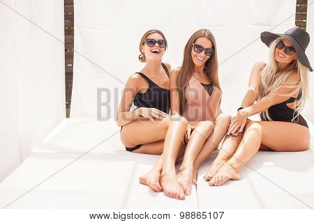 Beautiful young women are resting in swimsuit
