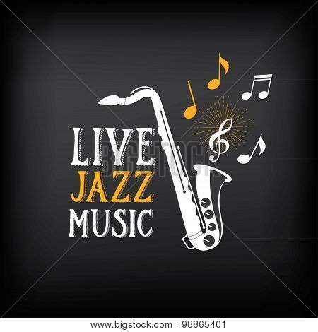 Jazz music party logo and badge design. Vector with graphic.