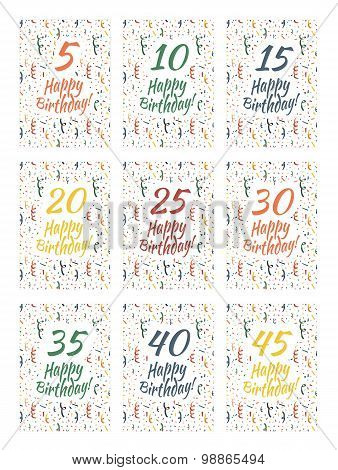 Set of happy birthday card covers for anniversary 5,10,15,20,25,30,35,40,45 years