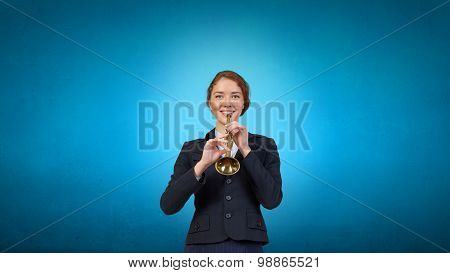 Businesswoman playing fife
