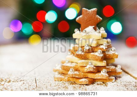 Home Made Baked Christmas Gingerbread Tree As A Gift