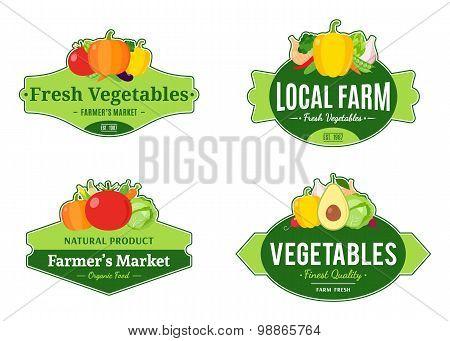 Vintage Vegetables Labels And Design Elements