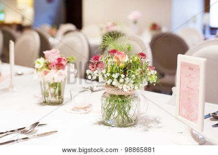 Table Set In Pink And White For Wedding Or Event Party.