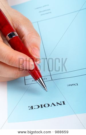 Writing Blank Invoice With Pen