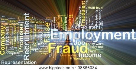 Background concept wordcloud illustration of employment fraud glowing light