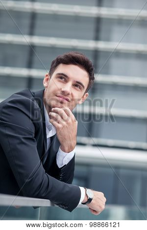 Attractive young businessman has an appointment with client