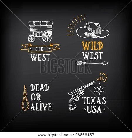 Wild west badges design. Vintage western elements.Vector with gr