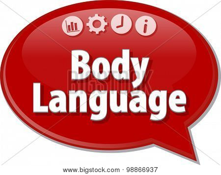 Speech bubble dialog illustration of business term saying Body Language