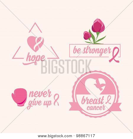Breast cancer set of stickers. Pink ribbon, icon design.