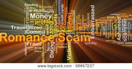 Background concept wordcloud illustration of romance scam glowing light