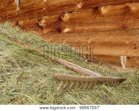 Wooden rake on hay