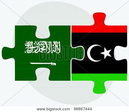 Saudi Arabia And Libya Flags