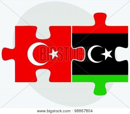 Turkey And Libya Flags