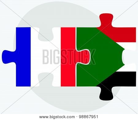 France And Sudan Flags