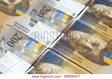 Banknotes Of Swiss Francs As Background