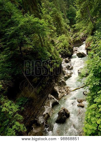 Fast Flowing River Through the Breitachklamm, Germany