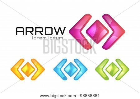 Arrow abstract logo vector template. Web or app symbol, cursor