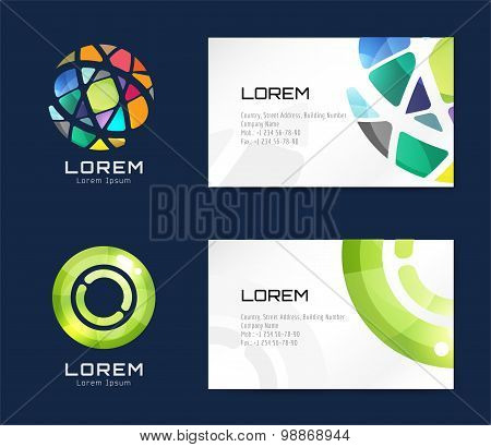 Vector business card template set. Globe and ring logo icons