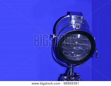 Chrome Stage Light On Blue Background.