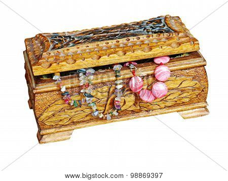 Wooden Jewelry Box With Beads Isolated On White.