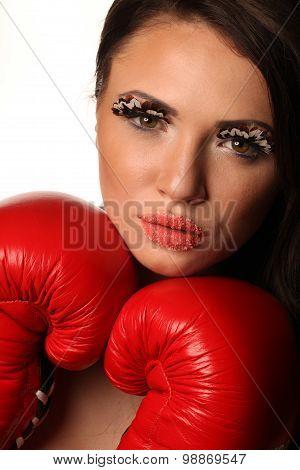 Female Boxer Red Gloves