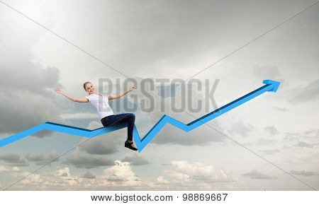 Businesswoman ride graph
