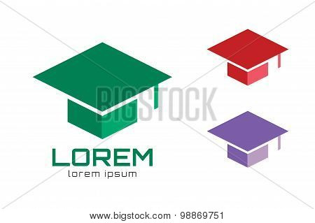 Graduation cap hat logo icon template. College, university, school icons