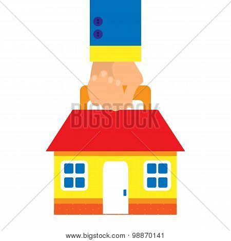 Background In A Flat Style With A Hand Carrying A House On A White Background. Business Concept Hous