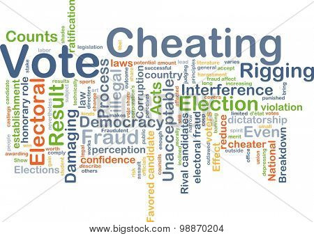 Background concept wordcloud illustration of vote cheating