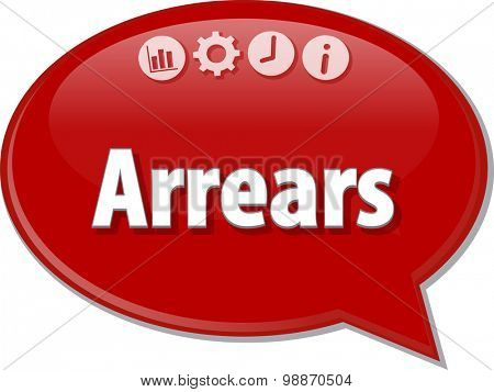 Speech bubble dialog illustration of business term saying Arrears