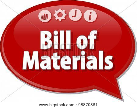 Speech bubble dialog illustration of business term saying Bill of Materials