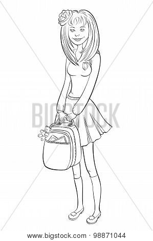 High School Girl With A Backpack In His Hands