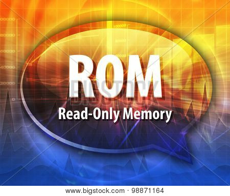 Speech bubble illustration of information technology acronym abbreviation term definition ROM Read Only Memory