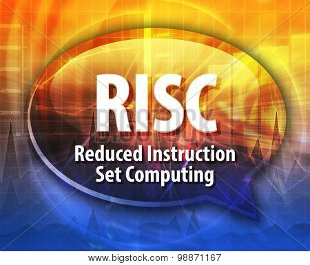 Speech bubble illustration of information technology acronym abbreviation term definition RISC Reduced Instruction Set Computing
