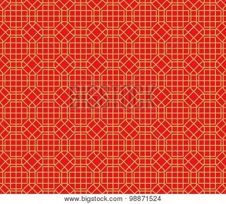 Golden seamless Chinese window tracery lattice polygon geometry pattern background.