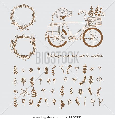 Wreaths and bicycle