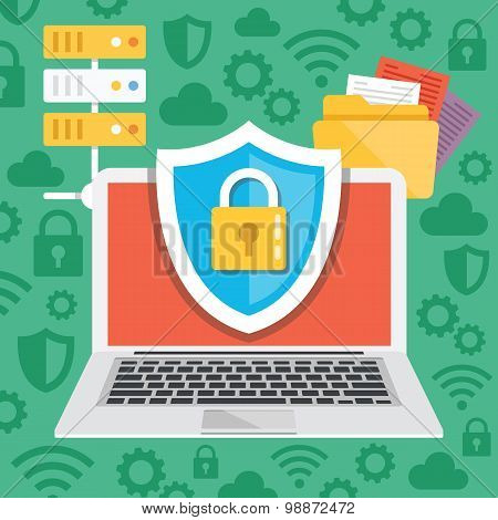 Data protection internet security flat