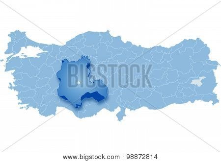 Map Of Turkey, Konya