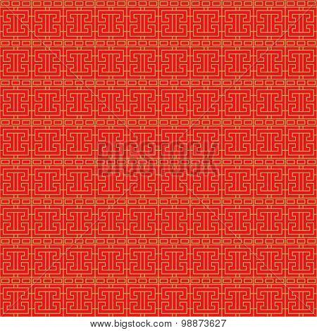 Golden seamless Chinese window tracery lattice geometry pattern background.