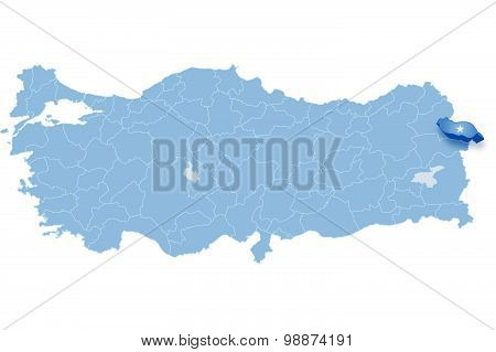 Map Of Turkey, Igdir